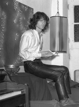 jim morrison indoors leather trousers