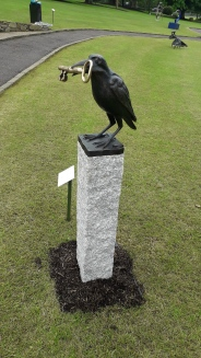 Black Raven with Key Sculpture Ian Pollock