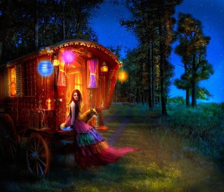 Gypsy Caravan Girl and Fox Art