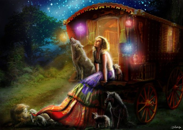 Gypsy Girl in Caravan with Wolves Art
