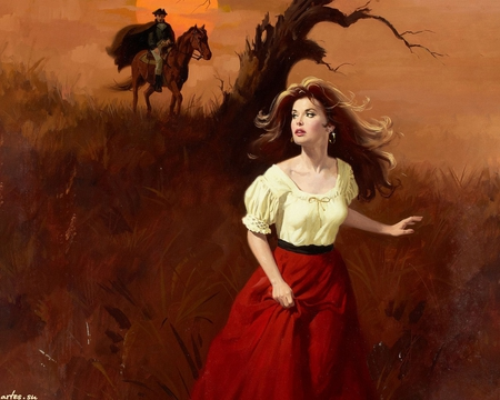 Gypsy Girl in Red Runaway Art