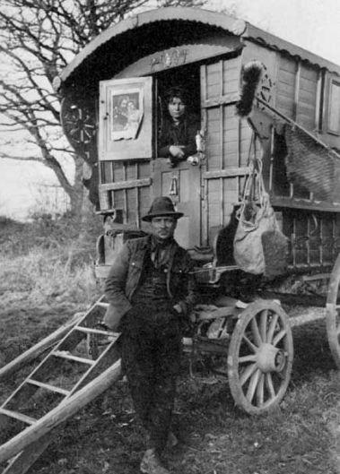 Vintage couple in gyspy caravan