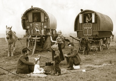 Vintage Gypsy Caravan in field photo