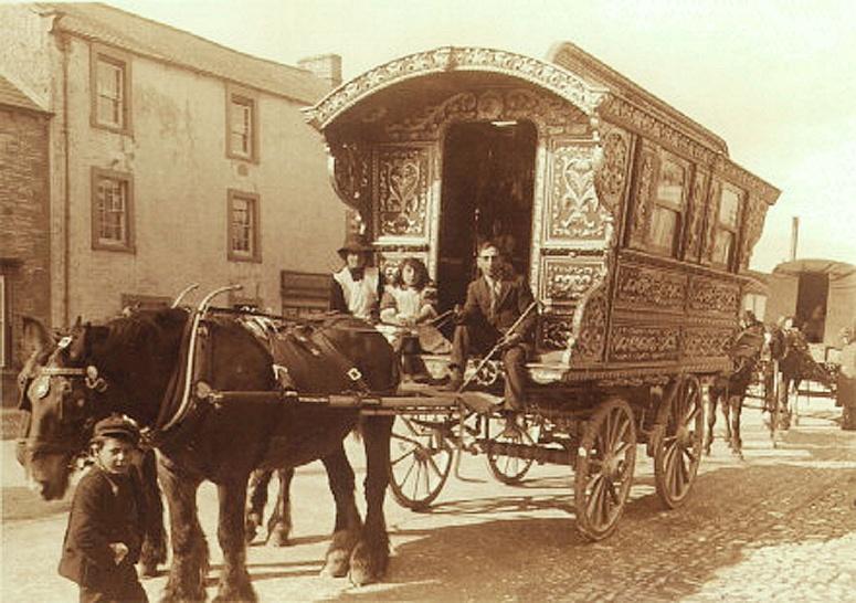 Vintage Gypsy Caravan on Road photo