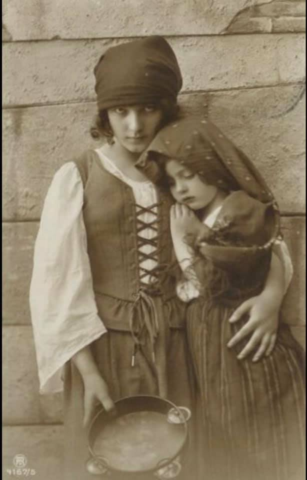 Vintage Gypsy Girl and Child photo