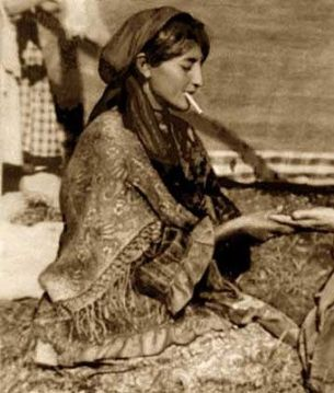 vintage Gypsy Lady smoking photo