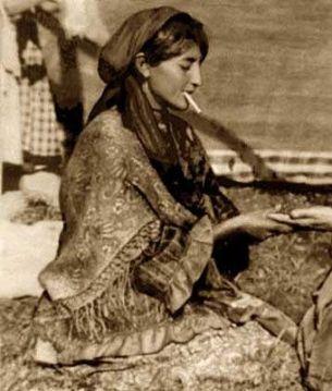 vintage Gypsy Lady smoking photo