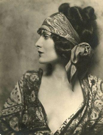 vintage gypsy lady with headscarf photo