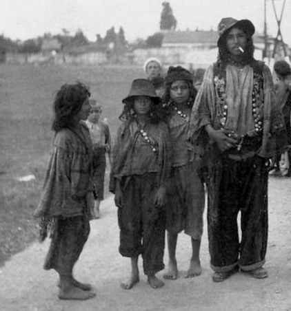Vintage Gypsy Man and Children photo