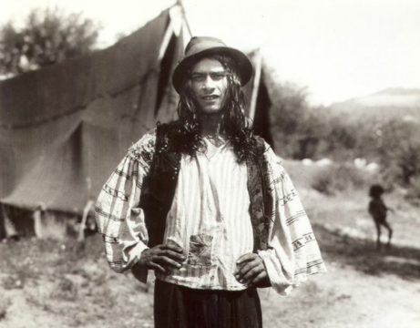 vintage Gypsy Man and tent photo