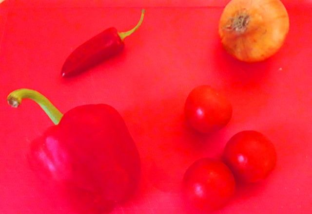 Red Pepper Tomatoes and Onion for Vegetable Curry