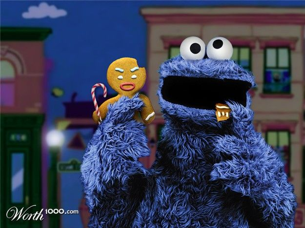 Cookie Monster with Ginger Bread Man