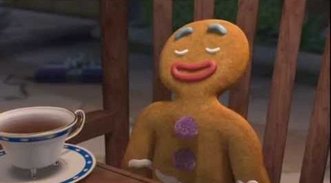 Ginger Bread Man shrek with cup of tea