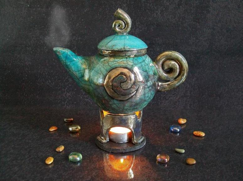 raku teapot essential oil burner