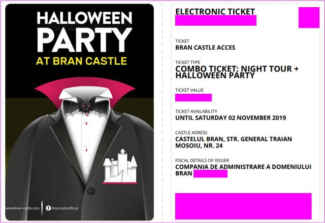 Bran Castle Dracula Party Halloween Party Ticket October 2019