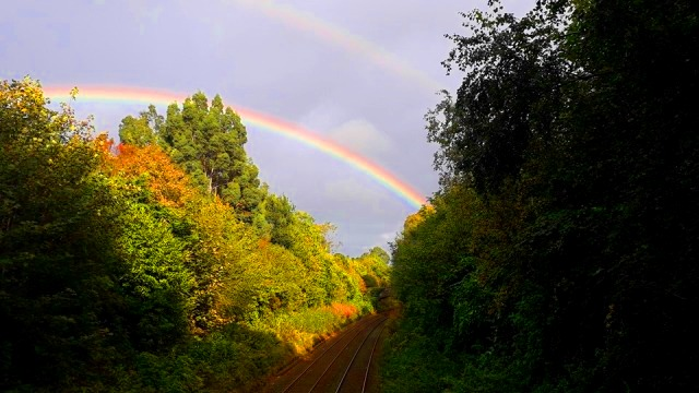 Double Rainbow over railway track 2