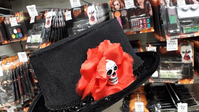 Female Black Gothic Hat with Red Flower and Skull