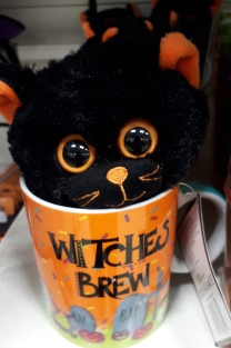 Witches Brew Mug and cute cuddly cat toy