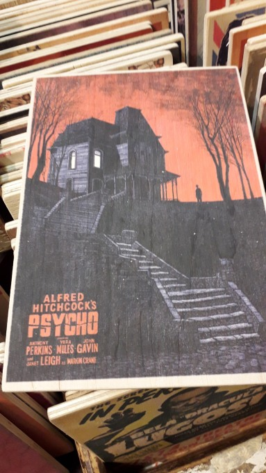 Alfred Hithcock's Psycho wooden Artwork