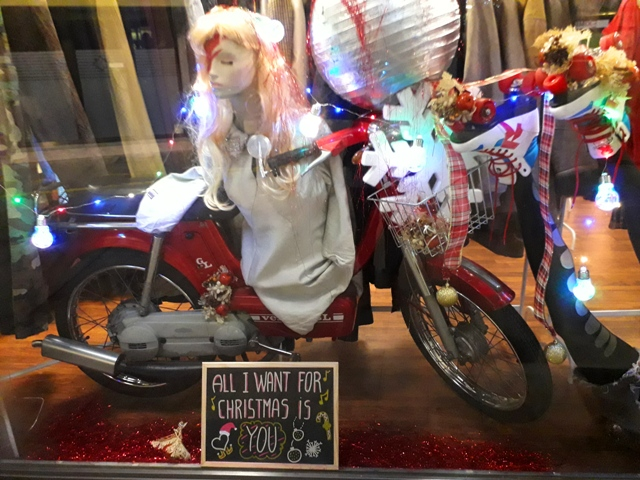 All I want for christmas is you retro girl motorbike window display