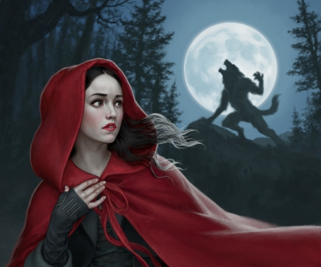 Little Red Riding Hood Werewolf Full Moon Art