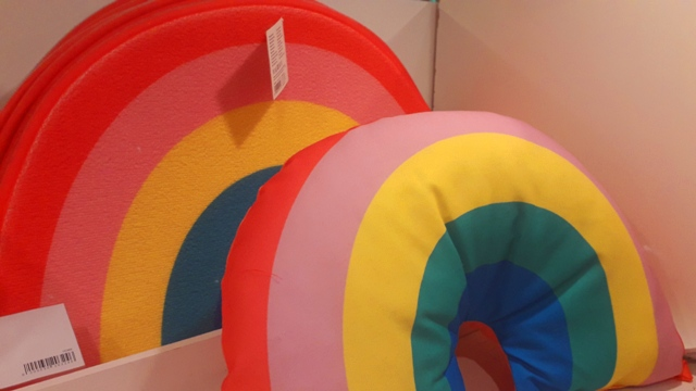 Rainbow Bath Mat and Rainbow Neck Cushion