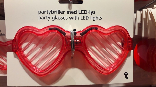 Red Heart Shaped LED Party Glasses with flashing lights