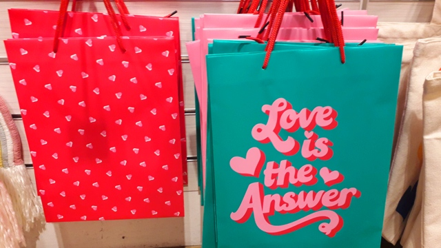Valentines Gifts Bags Love is the Answer and Red Hearts bag