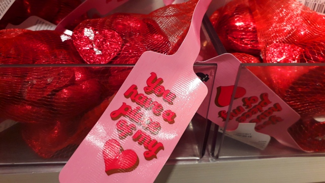 Valentines Red heart shaped chocolates