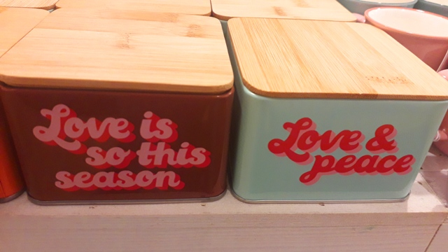 Vintage Love and Peace Colourful Retro Storage Jars