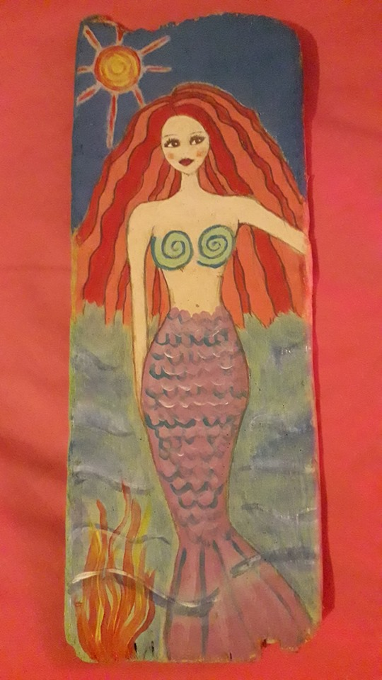Mermaid with Fire Flame and Red Hair on Driftwood Art