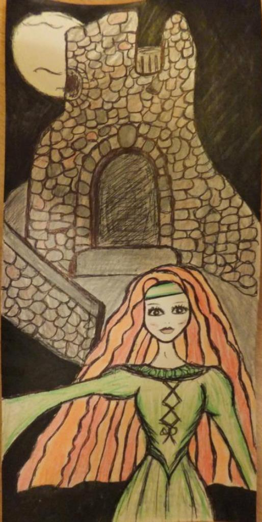 Red Haired Celtic Female Ghost Haunting Castle Tower Art