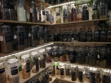 Herbs in Jars in Magic Shop