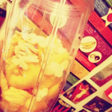 Vegan Pumpkin Smoothie Nutribullet beside fridge magnets