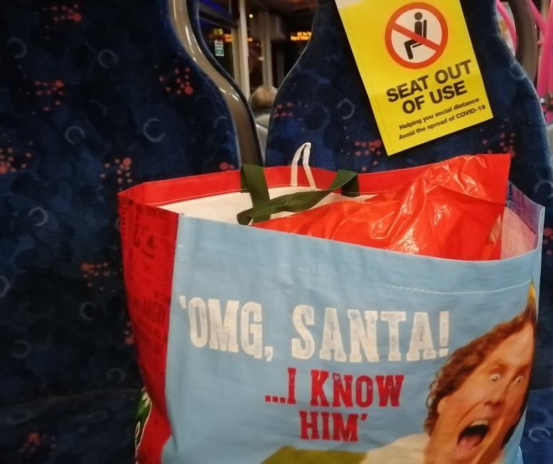 Will Ferrell Elf OMG Santa I know him Bag on Bus (2)