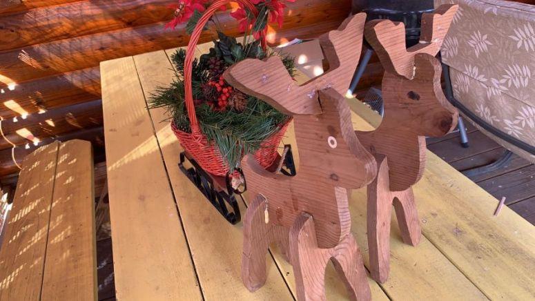 Wooden Chrsitmas Reindeer on Table