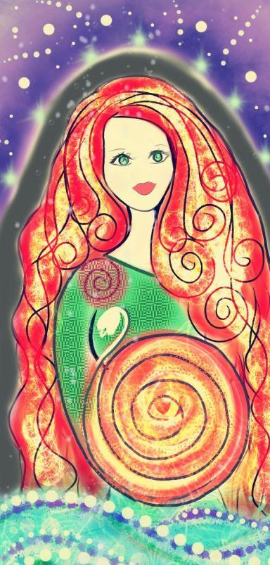 Flame Haired Saint Brigid Goddess Cosmic Spiral Art