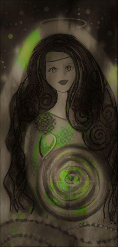 Goddess and Saint Brigid Art Dark with Green swirls