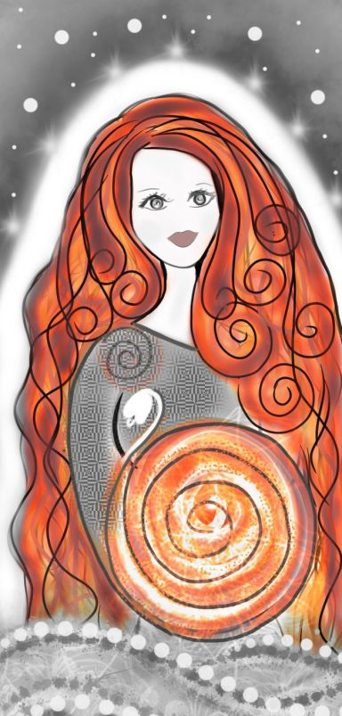 Saint Brigid Goddess Snow and Snowdrop Mystical Art
